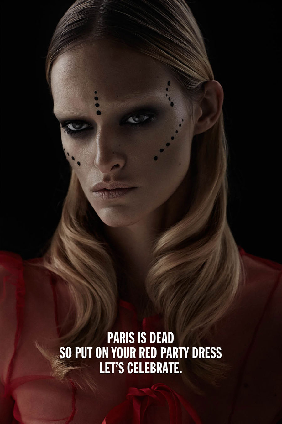 PARIS IS DEAD IS DEAD - VIVE PARIS IS DEAD. Photographer: René Habermacher Model: Nadine Strittmatter @ Next Hair: Yuji Okuda Make-up: Min Kim @ Airport Agency Manucure: Aurélie Chevalier  Dress: Filep Motwary Sandals: Giambattista Valli  Production: The Stimuleye  Thanks to Versae Vanni @ Next.