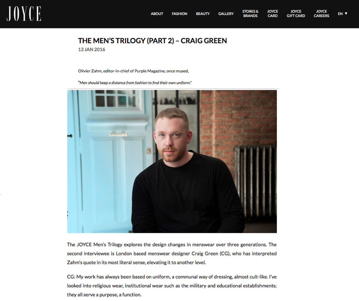 The Men's Trilogy (PART 2) – Craig Green  Interview by Lucienne Leung-Davies Photography by Filep Motwary