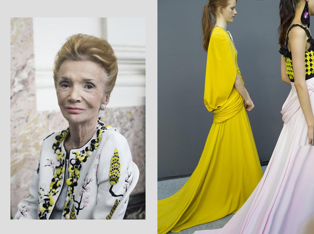 Lee Radziwill & the most ravishing yellow gown in silk Jersey.. Giambattista Valli
