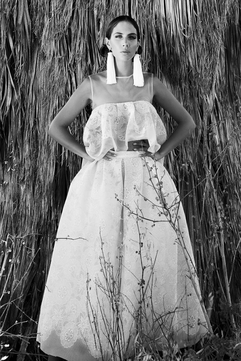Photography : Filep Motwary  Dresses & Earrings  : Ramon Filip  Model :Ivana Batakovitch  Make-up : Ilona  Hair : Peter Sxima  Shades : X-eyes