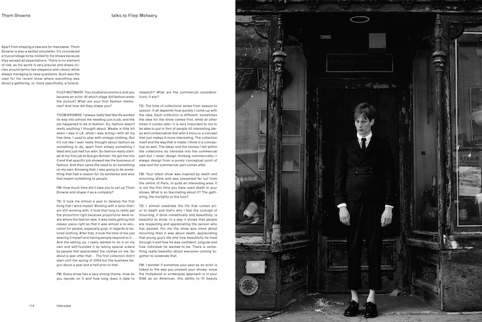 Thom Browne in the new issue of DAPPER DAN magazine #12 Interview by Filep Motwary Photography by Thomas Goldblum Fashion by Benoit Martinengo Grooming by Hanjee at Jed Root Modelled by Felix Gesnouin at VNY Casting by Kegan Webb Fashion assistance by Anastasia Walker Clothes by Thom Browne