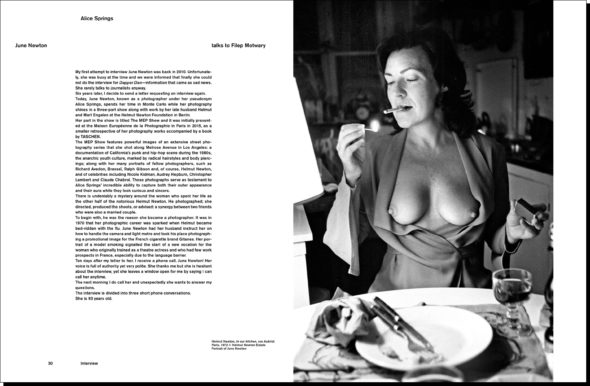 June Newton aka Alice Springs interviewed by Filep Motwary for the lates issue of Dapper Dan Magazine #15, released in April 2017.